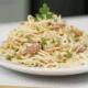 Spaghetti Vegetales estilo Alfredo con pavo