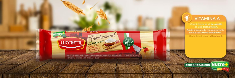 Paquete de spaghetti tradicional adicionada con vitaminas